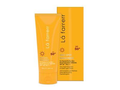 کرم ضد آفتاب و ضد لک بی رنگ مخصوص پوست خشک و معمولی SPF 50